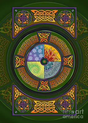 Print featuring the mixed media Celtic Elements by Kristen Fox