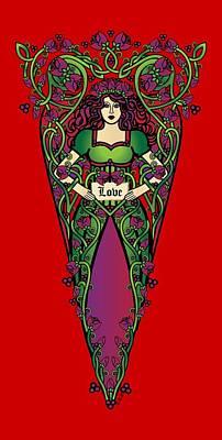 Fairy Digital Art - Celtic Forest Fairy - Love by Celtic Artist Angela Dawn MacKay
