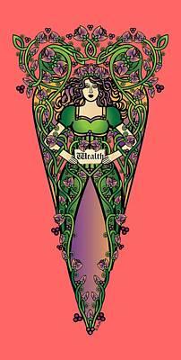 Fairy Digital Art - Celtic Forest Fairy - Wealth by Celtic Artist Angela Dawn MacKay