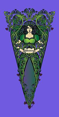 Fairy Digital Art - Celtic Forest Fairy - Wisdom by Celtic Artist Angela Dawn MacKay