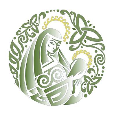 Digital Art - Celtic Green Madonna by Ishana Ingerman