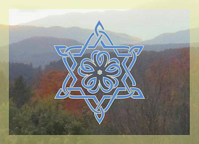 Digital Art - Celtic Hexagram Rose In Blue by Ishana Ingerman