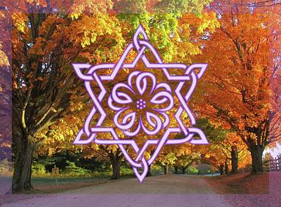 Digital Art - Celtic Hexagram Rose In Lavandar by Ishana Ingerman