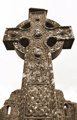 Photograph - Celtic High Cross At Athassel Priory County Tipperary Ireland Sepia by Shawn O'Brien