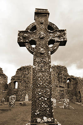Photograph - Celtic High Cross Athassel Priory County Tipperary Ireland Sepia by Shawn O'Brien