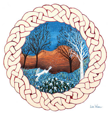 Painting - Celtic Knot With Bunny by Lise Winne