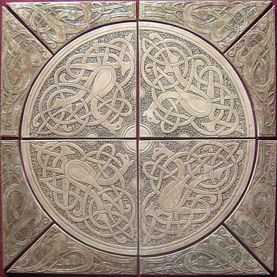 Ceramic Sculpture - Celtic Knotwork Ceramic Tile Set by Shannon Gresham