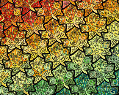 Print featuring the mixed media Celtic Leaf Transformation by Kristen Fox