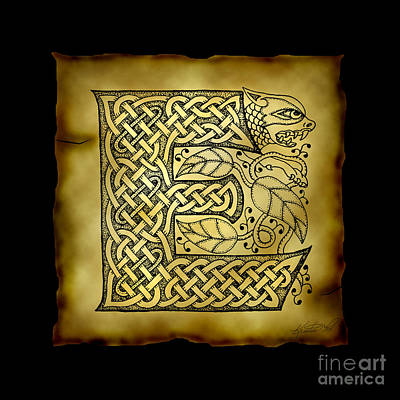 Mixed Media - Celtic Letter E Monogram by Kristen Fox