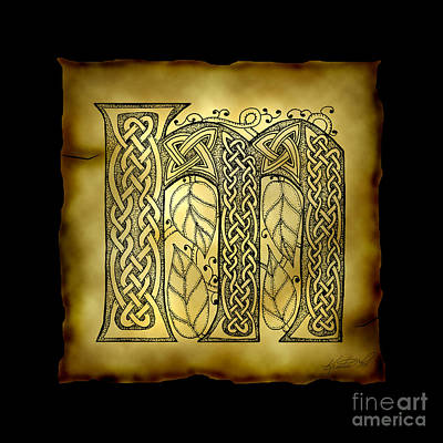 Mixed Media - Celtic Letter M Monogram by Kristen Fox