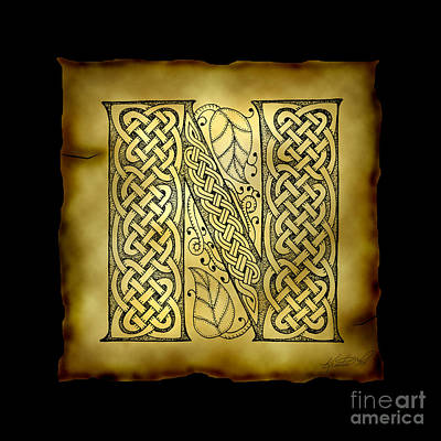 Mixed Media - Celtic Letter N Monogram by Kristen Fox