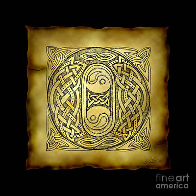 Mixed Media - Celtic Letter O Monogram by Kristen Fox