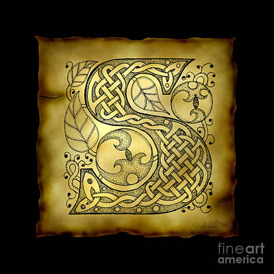Mixed Media - Celtic Letter S Monogram by Kristen Fox