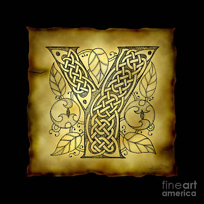 Mixed Media - Celtic Letter Y Monogram by Kristen Fox