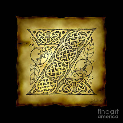 Mixed Media - Celtic Letter Z Monogram by Kristen Fox