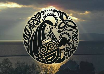 Digital Art - Celtic Madonna Over Sunset by Ishana Ingerman