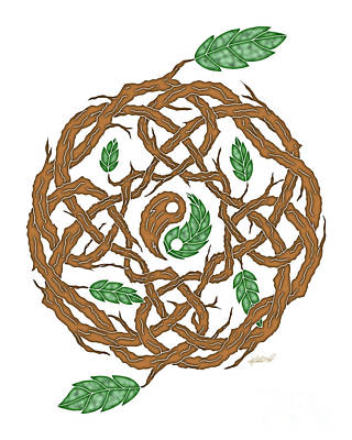 Mixed Media - Celtic Nature Yin Yang by Kristen Fox