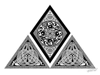 Print featuring the mixed media Celtic Pyramid by Kristen Fox