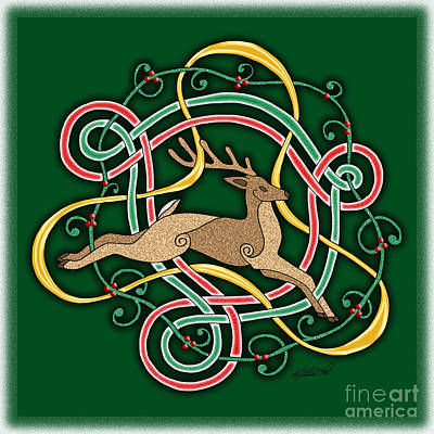 Mixed Media - Celtic Reindeer Knots by Kristen Fox