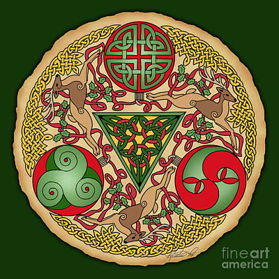 Print featuring the mixed media Celtic Reindeer Shield by Kristen Fox