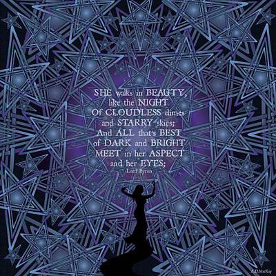 Digital Art - Celtic She Walks In Beauty by Celtic Artist Angela Dawn MacKay