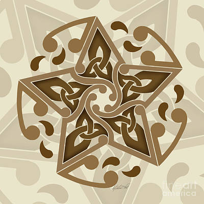 Print featuring the mixed media Celtic Star by Kristen Fox