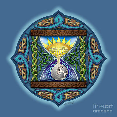 Print featuring the mixed media Celtic Sun Moon Hourglass by Kristen Fox