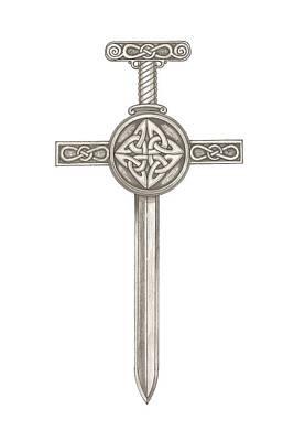 Drawing - Celtic Sword B992 by Deborah Runham