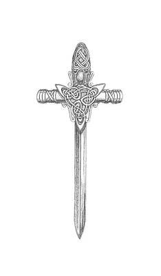 Digital Art - Celtic Sword B999 by Deborah Runham