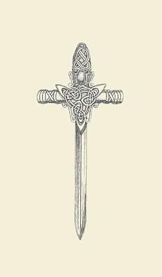 Filigree Drawing - Celtic Sword B999v2 by Deborah Runham