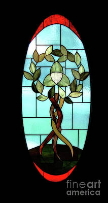 Glass Art - Celtic Three Root Tree by Laura Brightwood