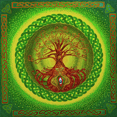 Knotted Tree Painting - Celtic Tree Of Life Dot Art by Olesea Arts