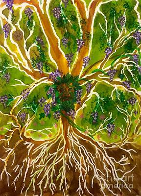 Tree Roots Painting - Celtic Tree Of Life Green Man by Ellen Levinson