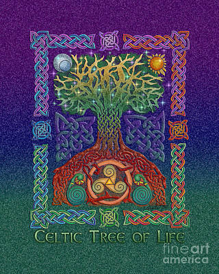 Print featuring the mixed media Celtic Tree Of Life by Kristen Fox