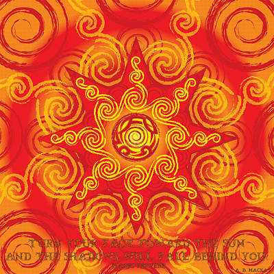 Celtic Digital Art - Celtic Tribal Sun by Celtic Artist Angela Dawn MacKay