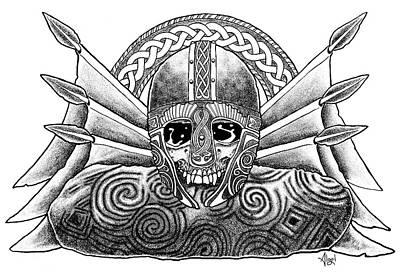 Drawing - Celtic Battle Helm by Bard Algol