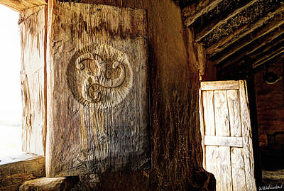 Photograph - Celtic Window Shutter With Carved Triskelion And Door by Weston Westmoreland