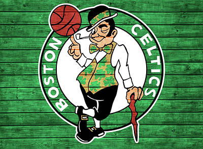 Athletes Mixed Media - Celtics Barn Door by Dan Sproul