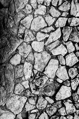 Photograph - Cement Brick Rock Wall With Erosion  by John Williams