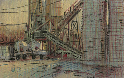Plein Air Drawing - Cement Company by Donald Maier