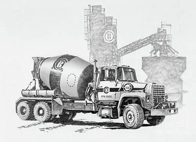 Drawing - Cement Truck Portrait by James Williamson