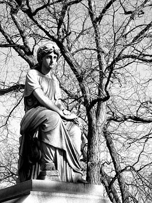 Photograph - Cemetary Statue B-w by Anita Burgermeister