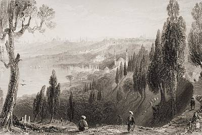 White River Scene Drawing - Cemetery And Mosque Of Ayub, Eyyub by Vintage Design Pics
