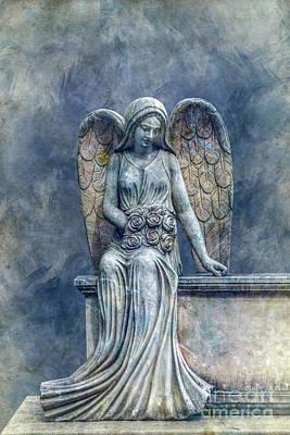 Cemetery Angel In Blue Art Print by Randy Steele