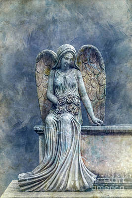 Graveyard Digital Art - Cemetery Angel In Blue by Randy Steele
