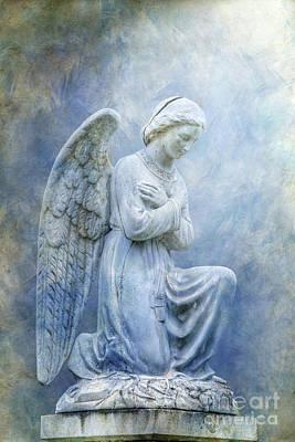 Graveyard Digital Art - Cemetery Angel Statue In Blue by Randy Steele
