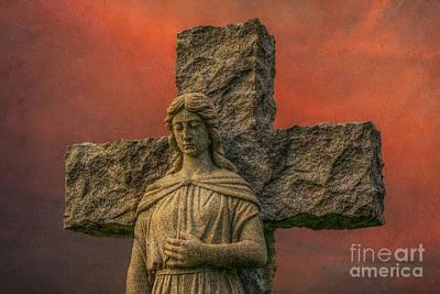 Graveyard Digital Art - Cemetery Angel Statue Sunset by Randy Steele