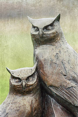 Photograph - Cemetery Art Two Owls In The Rain by Carol Leigh
