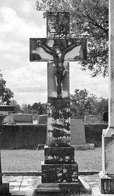 Photograph - Cemetery Cross by rd Erickson