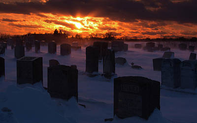 Sunset Digital Art - Cemetery by Maye Loeser